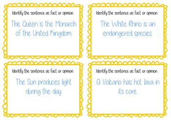 Fact and Opinion Text Task Cards - Guided Reading