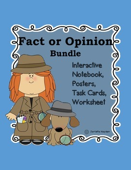 Fact or Opinion Bundle Literacy Center Detective-Notebook,