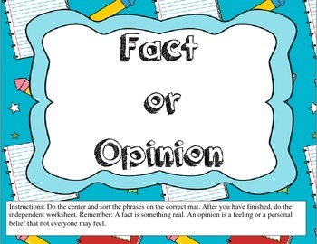 Fact or Opinion Center in English