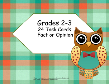 Fact or Opinion Grades 2-3 -Literacy and ELA-Plaid Owls Theme