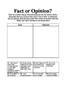 Fact or Opinion Graphic Organizer adapted from Jane Goodal