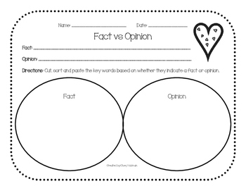 Fact vs Opinion Graphic Organizer Bundle