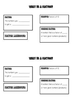 Factor, Factoring, & Common Factors Math Journal Notes