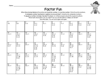 Multiplication And Factor Fun