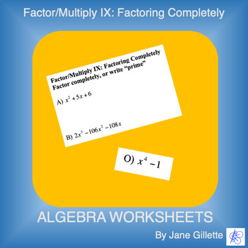 Factor/Multiply IX: Factoring
