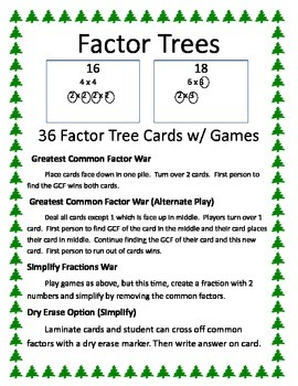 Factor Trees: GCF War, Simplify Fractions War Games