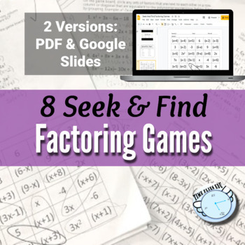 Factoring Polynomials {using a Seek and Find Activity - 8
