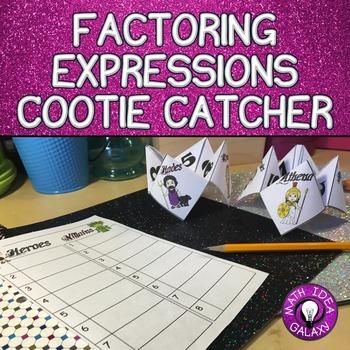 Factoring Expressions Activity- Cootie Catcher