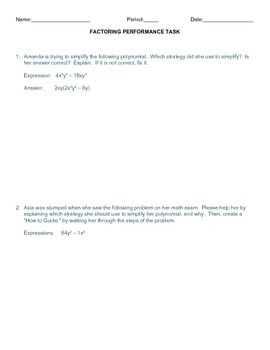 Factoring Performance Task, Checklist and Rubric