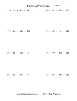Factoring Polynomials Practice Worksheets
