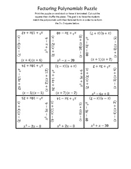 Factoring Polynomials Square Puzzle