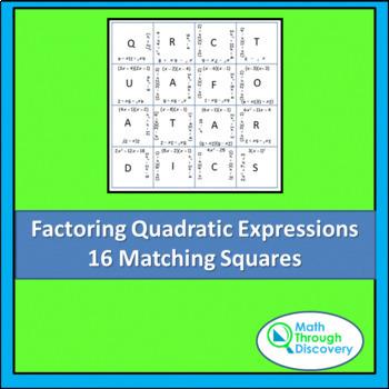 Match the Squares Puzzle - Factoring Quadratic Expressions