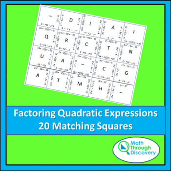 Algebra:  Match the Squares Puzzle - Factoring Quadratic E