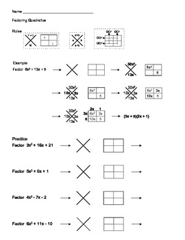Factoring Quadratic Expressions Using X-Box Method
