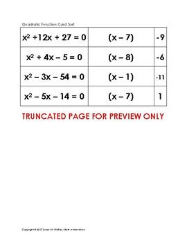 Factoring Quadratic Functions Card Sort (a=1)