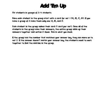 Factoring Quadratics Add 'Em Up Activity