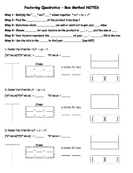 Factoring Quadratics Box Method NOTES