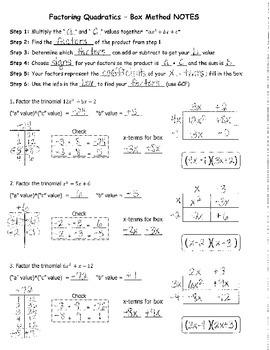Factoring Quadratics Box Method NOTES KEY