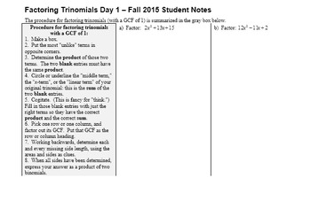 Factoring Trinomials Day 1 with Student Notes Page Fall 2015