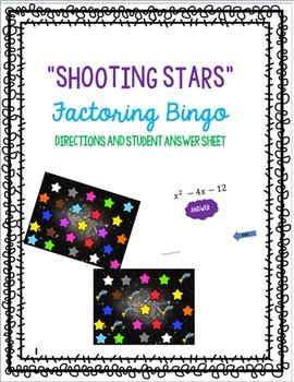 Factoring Trinomials Shooting Stars Bingo