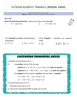 Factoring Trinomials (a = 1 and a >1)