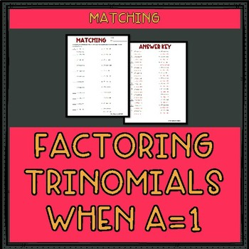 Factoring Trinomials A 1 Worksheet Answers : Katinabags.com