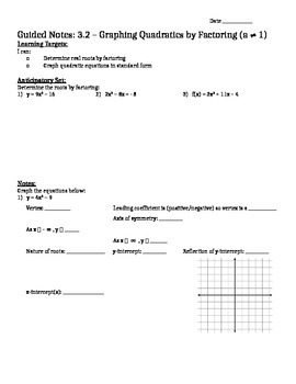 Factoring and Graphing Quadratics in Standard Form (a > 1)
