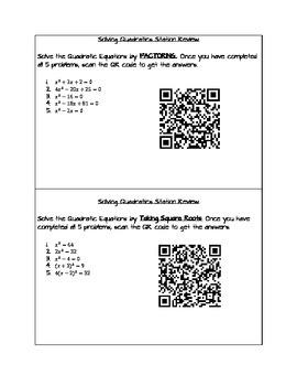 Factoring and Solving Quadratics Station Review