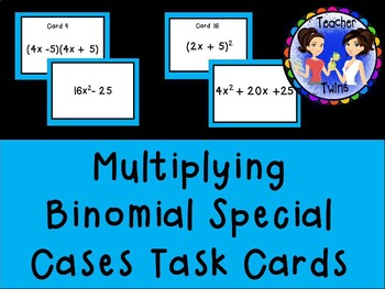 Factoring or Multiplying Binomial Special Cases Task Cards