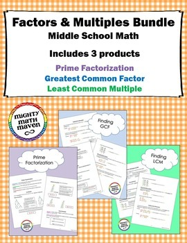Factors & Multiples Bundle - note handouts for Prime Facto