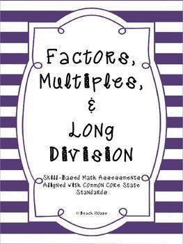 Factors, Multiples & Long Division - Math Assessments