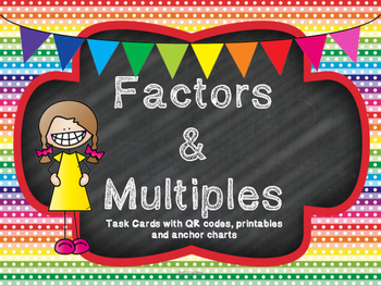 Factors & Multiples task cards with QR codes, printable, etc.