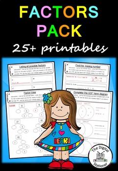 Factors Pack - 20+ worksheet/priintables