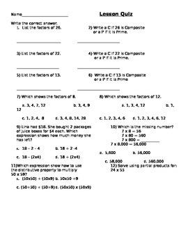 Factors Quiz
