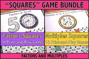 Factors and Multiples Games Bundle: 10 Factors Games + 12