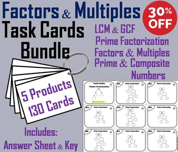 Factors and Multiples Task Cards/ Multiples and Factors Ta