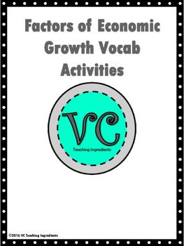 Factors of Economic Growth Vocab Activities