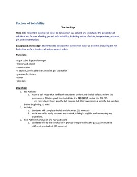Factors of solubility Lab