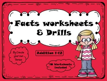 Single Digit Addition quick drills packet