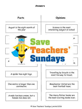 Facts and Opinions Sorting Activity