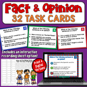 Facts and Opinions Task Cards