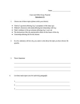 Fahrenheit 451--Cause & Effect Essay Proposal