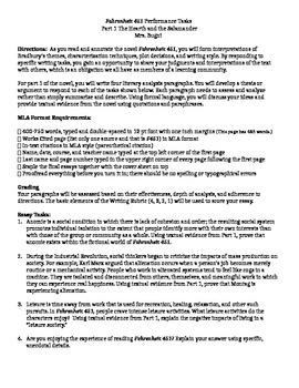 Fahrenheit 451 Part 1 Essay Ideas and Questions