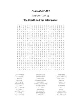 Fahrenheit 451 Part One Vocabulary Word Search