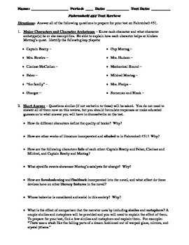 Fahrenheit 451 Test or Novel Review Worksheet