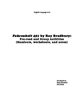 Fahrenheit 451 by Ray Bradbury: Worksheets, Group Activiti