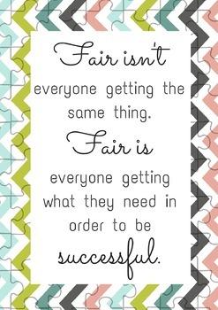 Fair isn't everyone getting the same thing. Fair is everyo