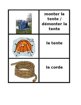 Faire du camping Concentration game