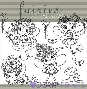 Fairy Black Line Clip Art