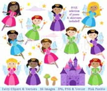 Fairy Clipart, Fairy Clip Art, Garden Fairies or Tooth Fai